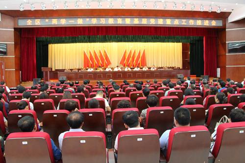 """刘学军在全区""""两学一做""""学习教育暨基层党建工作推进"""